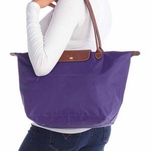 Longchamp Large Le Pliage Purple Nylon Tote